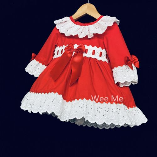 Beautiful Wee Me Baby Girl Red Spanish Long Sleeve Puff Ball Dress Front Bow